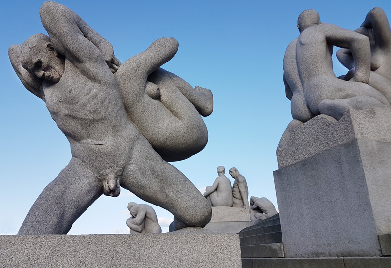 Naked women garden statues